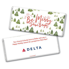 Personalized Christmas Be Merry Shine Bright Add Your Logo Chocolate Bar & Wrapper