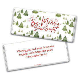 Personalized Christmas Be Merry Shine Bright Chocolate Bar & Wrapper