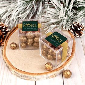 Personalized Christmas First Noel JUST CANDY® favor cube with Premium Sparkling Prosecco Cordials - Dark Chocolate