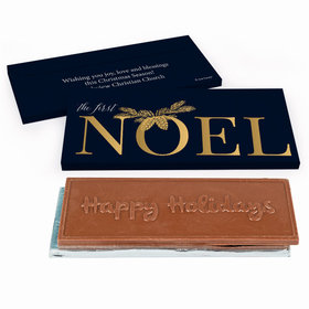Deluxe Personalized Christmas First Noel Embossed Happy Holidays Chocolate Bar in Gift Box
