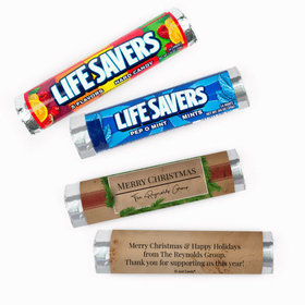 Personalized Christmas Brown Paper Packages Lifesavers Rolls (20 Rolls)