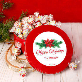 Personalized Christmas Poinsettia Tin with Lindor Truffles by Lindt - 24pcs