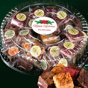 Personalized Happy Holidays Tin with Brownies