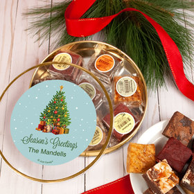 Personalized Season's Greetings Tin with Brownies