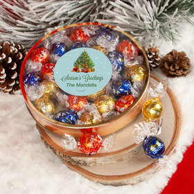 Personalized Christmas Season's Greetings Large Plastic Tin with Lindor Truffles by Lindt - 24pcs