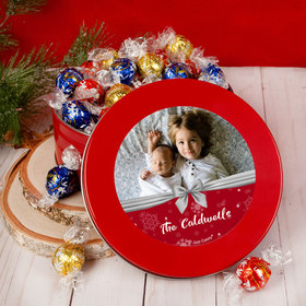 Personalized Christmas Welcoming Joy Tin with Lindor Truffles by Lindt - 24pcs
