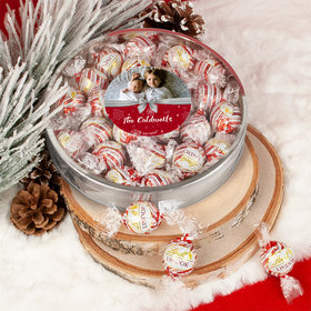 Personalized Christmas Welcoming Joy Large Plastic Tin Lindor Peppermint Truffles by Lindt (24pcs)