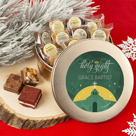 Personalized Holy Celebration Add Your Logo Tin with Brownies