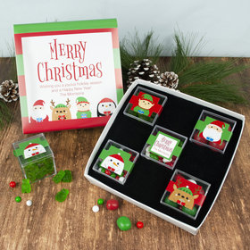 Personalized Premium Gift Box with 5 JUST CANDY® favor cubes - Christmas Winter Buddies