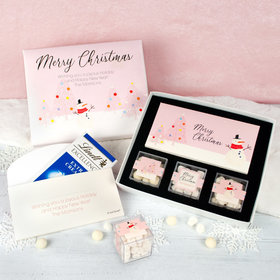 Personalized Premium Gift Box with Lindt Milk Chocolate Bar & 3 JUST CANDY® favor cubes - Blush Christmas