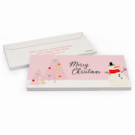 Deluxe Personalized Christmas Blush Chocolate Bar in Gift Box