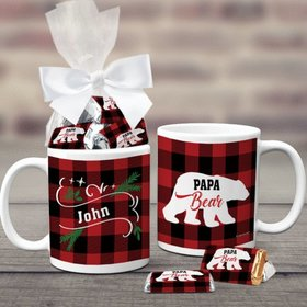 Personalized Plaid Papa Bear 11oz Coffee Mug with approx. 24 Wrapped Hershey's Miniatures