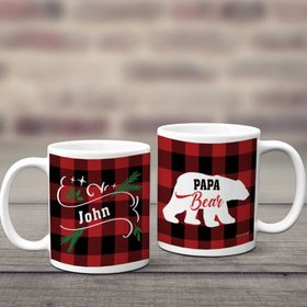 Personalized Plaid Papa Bear 11oz Mug Empty