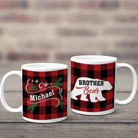 Personalized Plaid Brother Bear 11oz Mug Empty