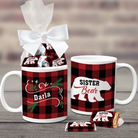 Personalized Plaid Sister Bear 11oz Coffee Mug with approx. 24 Wrapped Hershey's Miniatures
