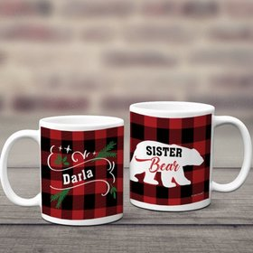 Personalized Plaid Sister Bear 11oz Mug Empty