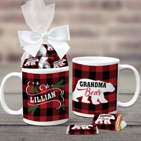 Personalized Plaid Grandma Bear 11oz Coffee Mug with approx. 24 Wrapped Hershey's Miniatures