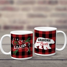 Personalized Plaid Grandma Bear 11oz Mug Empty