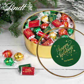 Personalized Happy Holidays Extra-Large Plastic Tin with Approx 1lb Hershey's Miniatures and Lindor Truffles by Lindt