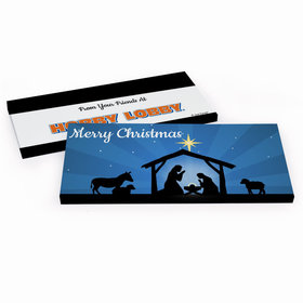 Deluxe Personalized Christmas Holy Night Nativity Candy Bar Favor Box