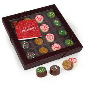 Personalized Gourmet Belgian Chocolate Truffle Gift Box (16 Truffles) - Happy Holidays