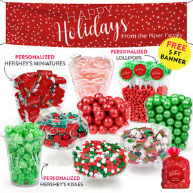 Personalized Happy Holidays Deluxe Candy Buffet