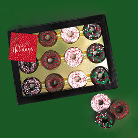 Personalized Happy Holidays Chocolate Covered Marshmallow Donuts - Dozen