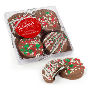 Personalized Gourmet Belgian Chocolate Covered Oreo Cookies Happy Holidays 4pc Gift Box