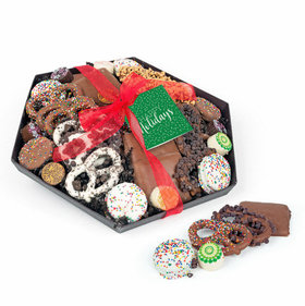 Personalized Happy Holidays Gourmet Belgian Chocolate Gift Tray