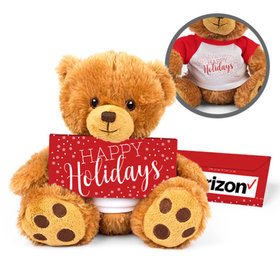 Personalized Teddy Bear Simply Holidays with Embossed Chocolate Bar in Deluxe Gift Box