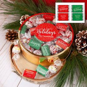 Personalized Hershey's Happy Holidays Miniatures and Peppermint Lindor Truffles by Lindt XL Plastic Tin - 1 lb