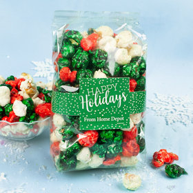 Personalized Happy Holidays Candy Coated Popcorn 8 oz Bags