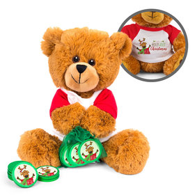 Personalized Merry Christmas Jolly Reindeer Teddy Bear with Chocolate Coins in XS Organza Bag