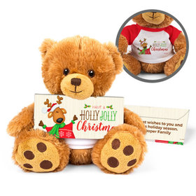 Personalized Teddy Bear Jolly Reindeer with Embossed Chocolate Bar in Deluxe Gift Box