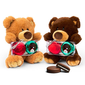 Personalized Chocolate Covered Oreo Cookies Santa Teddy Bear with Chocolate Covered Oreo 2pk
