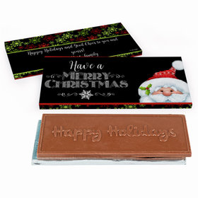 Deluxe Personalized Christmas Chalkboard Santa Chocolate Bar in Gift Box
