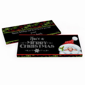 Deluxe Personalized Christmas Chalkboard Santa Candy Bar Favor Box