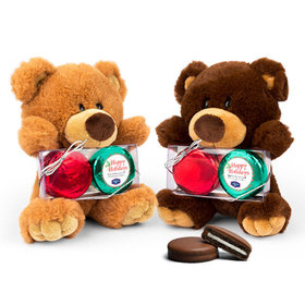 Personalized Chocolate Covered Oreo Cookies Christmas Stripes Teddy Bear with Chocolate Covered Oreo 2pk