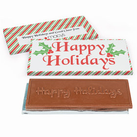 Deluxe Personalized Christmas Stripes Chocolate Bar in Gift Box