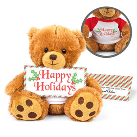 Personalized Teddy Bear Christmas Stripes with Embossed Chocolate Bar in Deluxe Gift Box