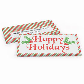 Deluxe Personalized Christmas Stripes Candy Bar Favor Box