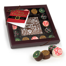 Personalized Christmas Gourmet Belgian Chocolate Truffle Gift Box (17 pieces)