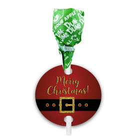 Personalized Christmas Santa Buckle Dum Dums with Gift Tag (75 pops)