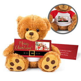 Personalized Teddy Bear Santa Buckle with Embossed Chocolate Bar in Deluxe Gift Box