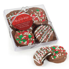 Personalized Gourmet Belgian Chocolate Covered Oreo Cookies Christmas Holiday Glitter 4pc Gift Box