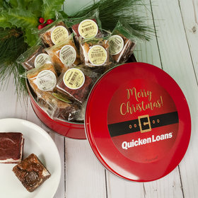 Personalized Santa Buckle Add Your Logo Tin with Brownies