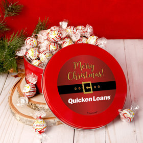 Personalized Christmas Add Your Logo Santa Buckle Tin with Lindor Truffles by Lindt - 24pcs
