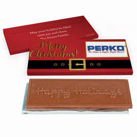 Deluxe Personalized Christmas Santa Belt Logo Chocolate Bar in Metallic Gift Box