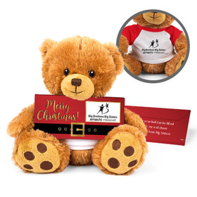Personalized Merry Christmas Santa Buckle Teddy Bear with Chocolate Bar in Deluxe Gift Box