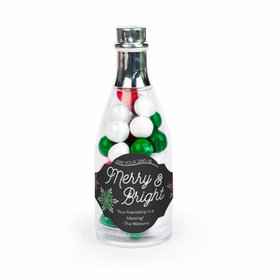 Personalized Christmas Merry & Bright Champagne Bottle with Sixlets Candies - 25 Pack